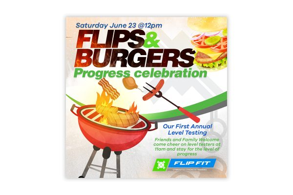 Flips and Burgers Social Media Graphic Design
